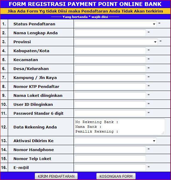 cara daftar ppob bank mandiri