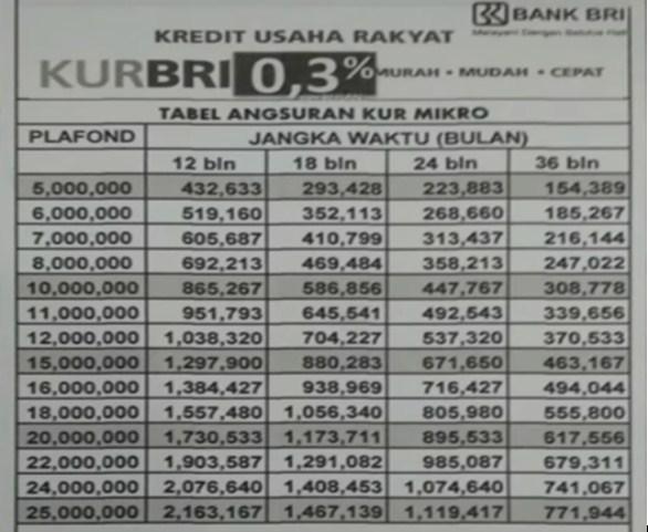 Tabel Angsuran KUR BRI Terbaru 2019 Dan Kelengkapan Berkasnya