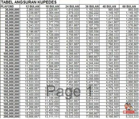 tabel angsuran bunga pinjaman bank bri 100 juta