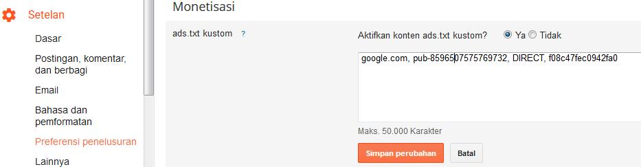 Cara Mengatasi Situs Tidak Memiliki File ads.txt Pada Google Adsense