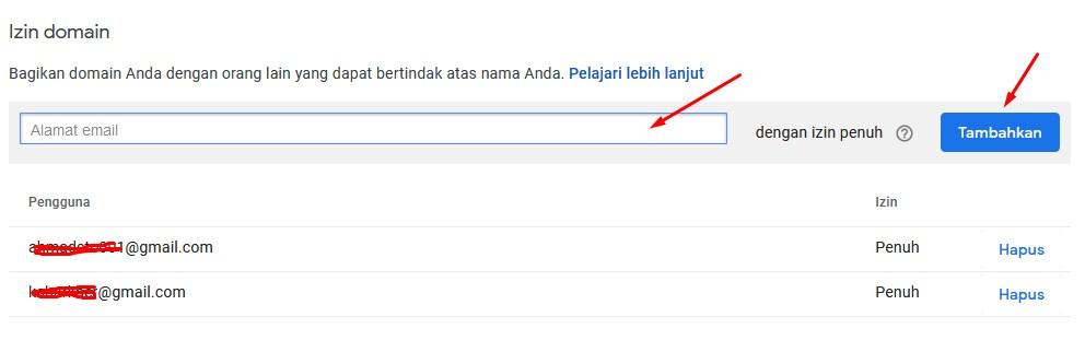 cara bagikan akses domain pada google domain