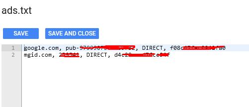 cara memasang kode ads.txt mgid