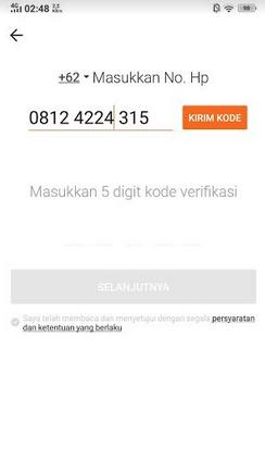 verifikasi nomor telepon di akulaku