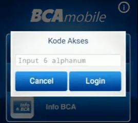 masukkan kode akses pada mobile banking bca
