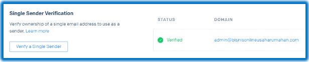verifikasi pengirim di sendgrid