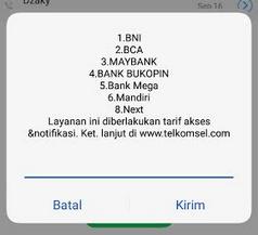 cek rekening bni lewat SMS banking