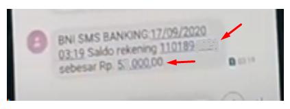 melihat nomor rekening via sms
