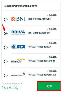 Pilih bank yang akan kita gunakan.