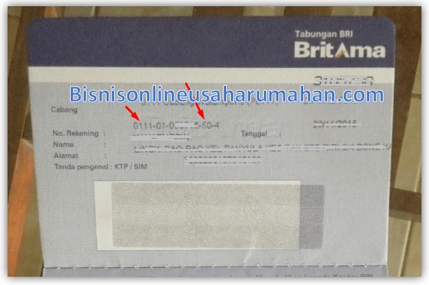 contoh nomor rekening bri britama