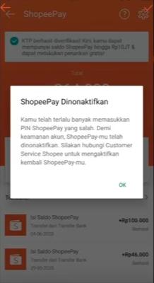 shopeePay dinonaktifkan