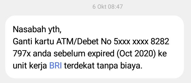 notifikasi kartu atm bri expired