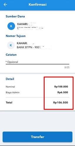 biaya transfer bri ke BTPN Jenius
