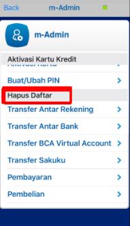 hapus daftar transfer rekening bca