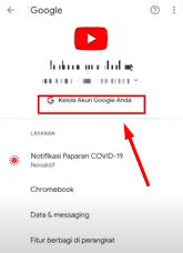 Pilih kelola akun google untuk lihat password Instagram